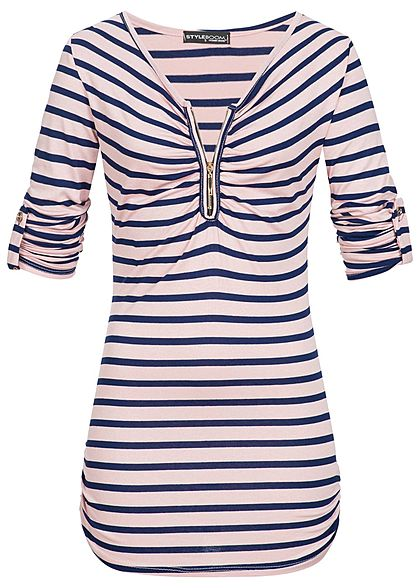 Styleboom Fashion Damen Turn-Up Shirt Zipper Streifen Muster rosa navy blau