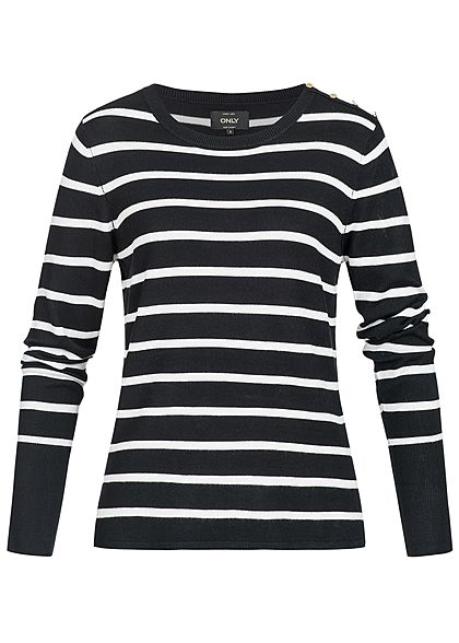 ONLY Damen Longsleeve Pullover Streifen Muster Deko Knöpfe NOOS schwarz  weiss - 77onlineshop ab6edc5e3f