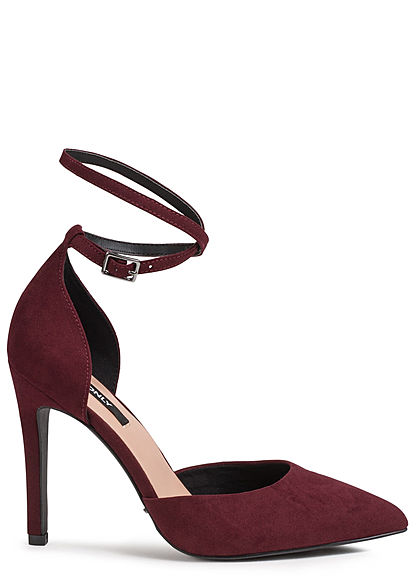 ONLY Damen Stiletto Sandalette Pumps Absatz: 10cm Kunstleder burgundy bordeaux rot