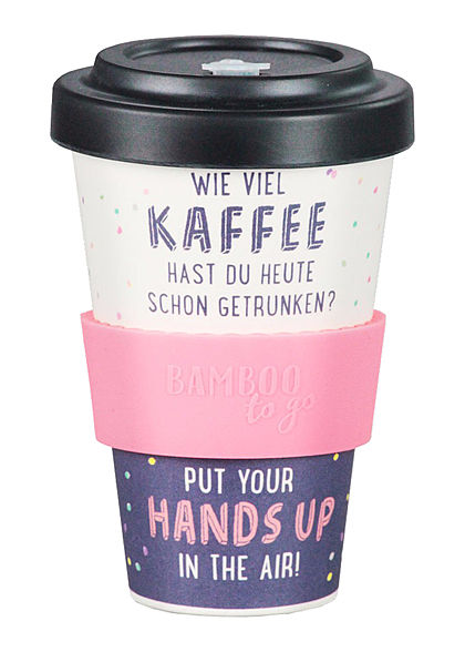 Seventyseven Lifestyle Bamboo Cup Coffee to Go Becher Hands up beige schwarz