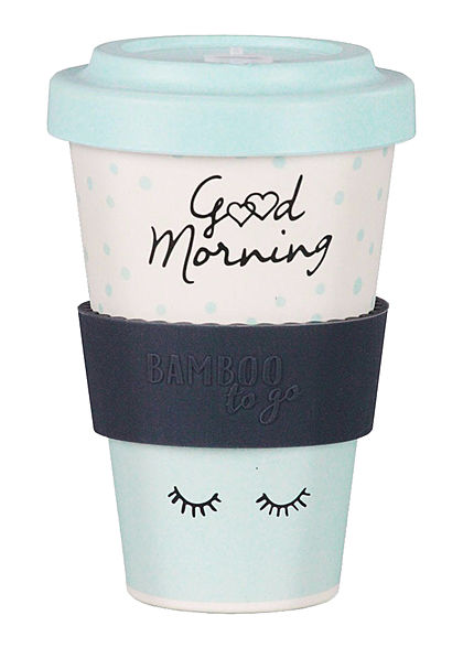 Seventyseven Lifestyle Bamboo Cup Coffee to Go Becher Good Morning beige hell blau beige