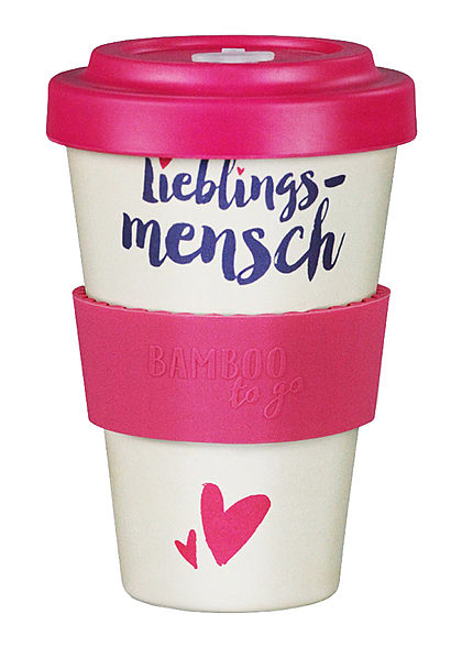 Seventyseven Lifestyle Bamboo Cup Coffee to Go Becher Lieblings-Mensch pink beige