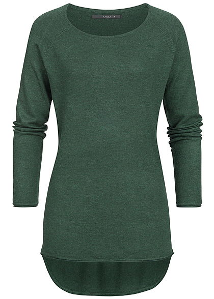 ONLY Damen NOOS Long Pullover mit Rollkante am Saum gables grün