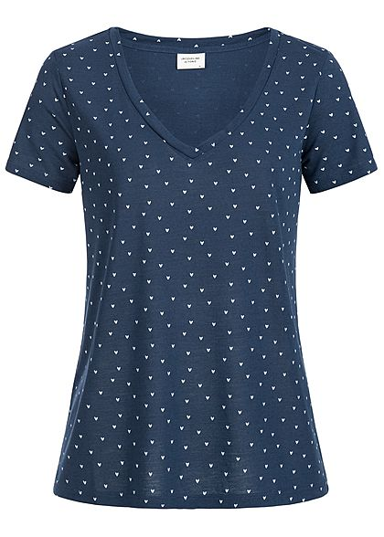 JDY by ONLY Damen T-Shirt Herz Muster NOOS navy blau weiss