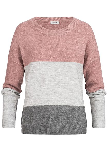 JDY by ONLY Damen Loose Pullover 3-Tone Colorblock nostalgia rosa grau