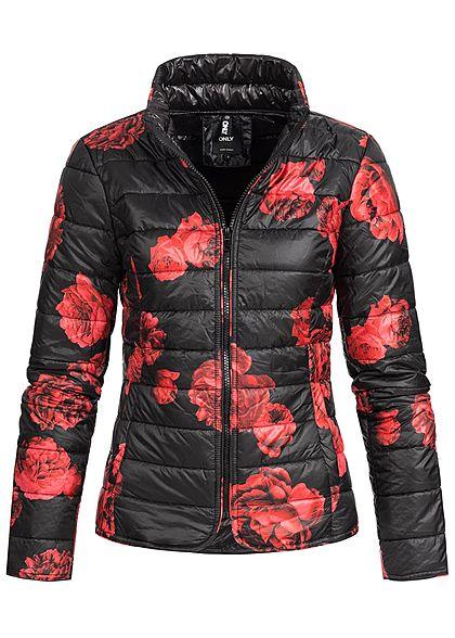 45444f16f3d90f ONLY Damen Übergangs Steppjacke 2 Taschen Blumen Print schwarz rot -  77onlineshop