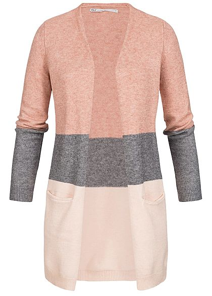 ONLY Damen NOOS Midi Colorblock Cardigan 2-Pockets misty rosa melange