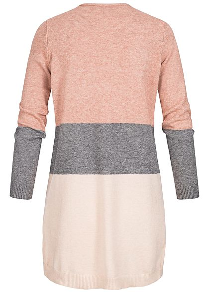 ONLY Damen NOOS Midi Colorblock Cardigan 2-Pockets misty rosa melange