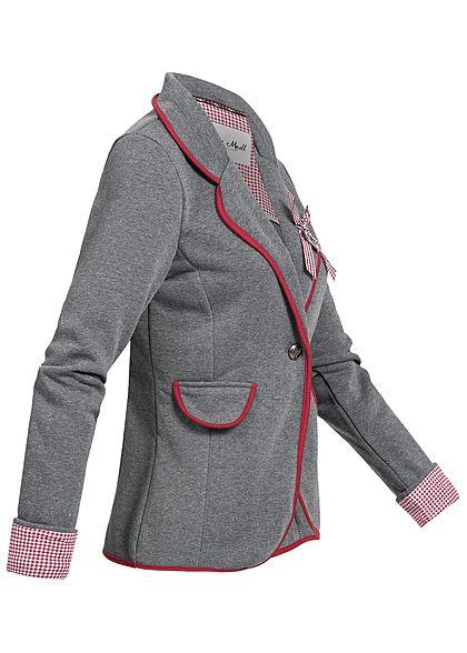 Hailys Damen Blazer 2 deko Taschen Hirschkopf hinten Strasssteine grau rot