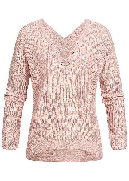 cheap for discount 6138e 5ac35 ONLY Damen Strick Pullover Schnürausschnitt NOOS rosa dawn weiss