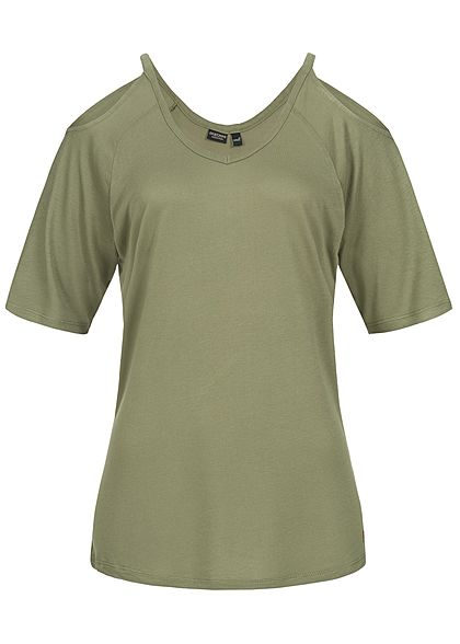Eight2Nine Damen Off Shoulder Shirt V-Ausschnitt ivy olive