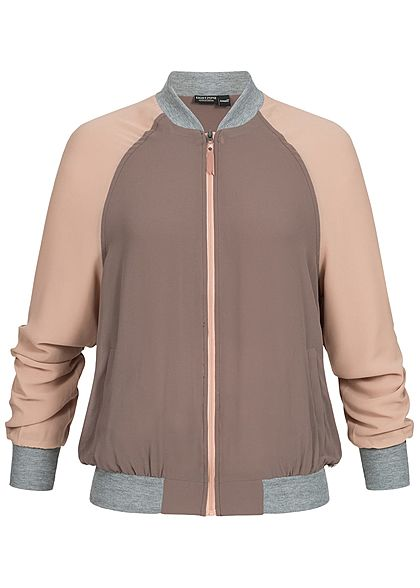 Eight2Nine Damen Zip Blouson Colorblock 2 Taschen truffle braun