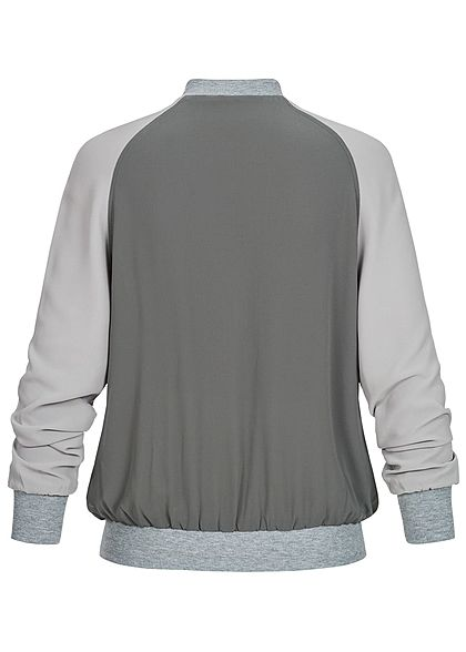 Eight2Nine Damen Zip Blouson Colorblock 2 Taschen castlerock grau