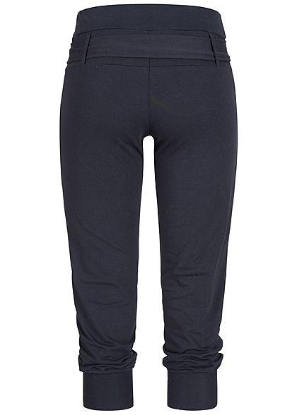 Styleboom Fashion Damen Capri Hose Bindegürtel 2 Taschen navy blau