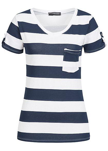 4fe96c6700293a Styleboom Fashion Damen T-Shirt Brusttasche Streifen Muster navy blau weiss  - 77onlineshop