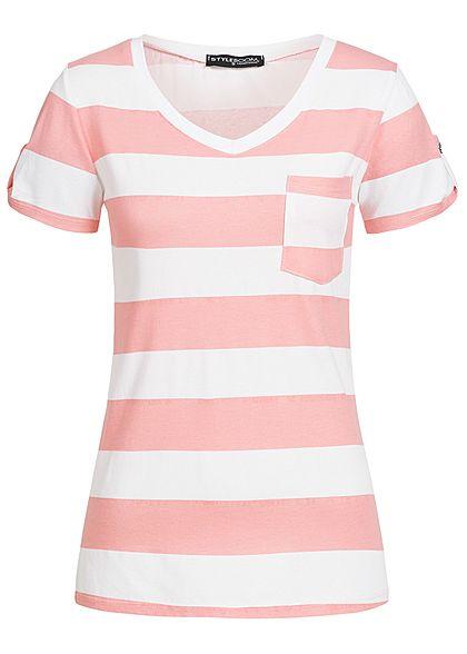 f6718c38c30f6a Styleboom Fashion Damen T-Shirt Brusttasche Streifen Muster rosa weiss -  77onlineshop