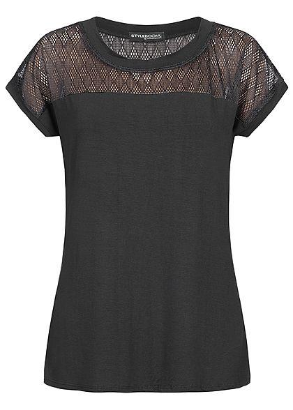 007d706d059a60 Styleboom Fashion Damen T-Shirt Netz-Einsatz oben schwarz - 77onlineshop