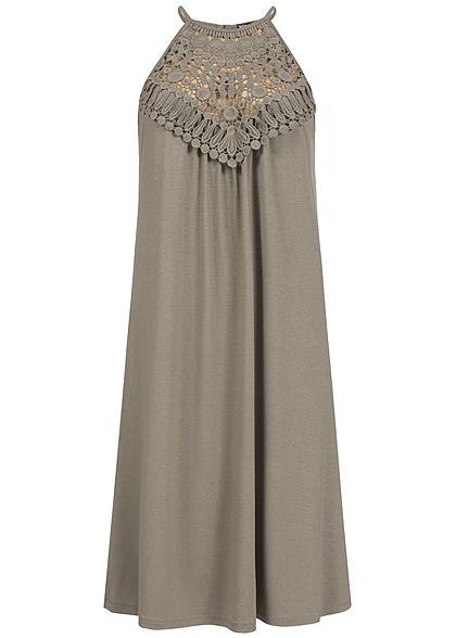 95f396478032 Styleboom Fashion Damen A-Linie Kleid Häkelbesatz fango braun - 77onlineshop