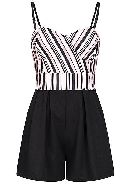 sale retailer 4c014 d4682 Styleboom Fashion Damen Kurz Jumpsuit Brustpads Streifen schwarz weiss rosa