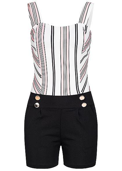 Styleboom Fashion Damen Kurz Jumpsuit Streifen 2 Taschen Brustpads schwarz weiss rosa