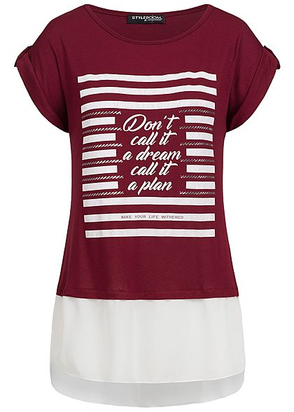 Styleboom Fashion Damen 2in1 T-Shirt Dont't call it Print bordeaux rot weiss