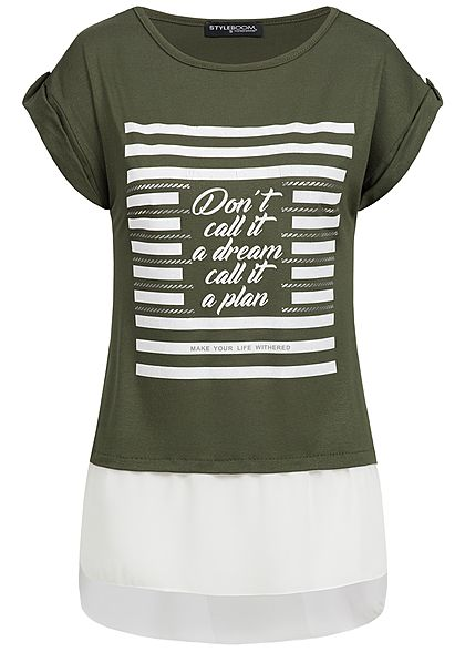 Styleboom Fashion Damen 2in1 T-Shirt Dont't call it Print military grün weiss