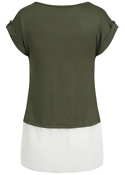 Styleboom Fashion Damen 2in1 T-Shirt Dont't call it Print military grün weiss