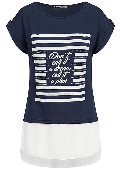 Styleboom Fashion Damen 2in1 T-Shirt Dont't call it Print navy blau weiss