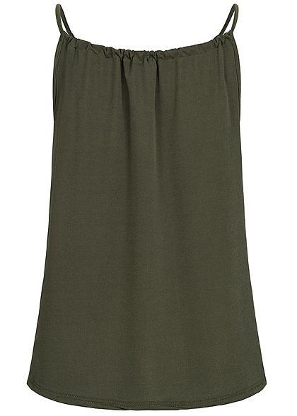 Styleboom Fashion Damen Träger Top Schleife military grün