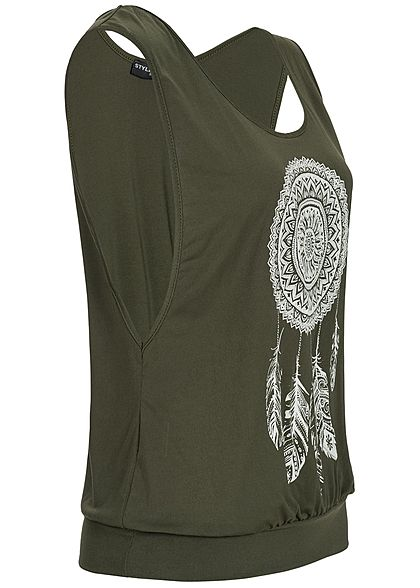 Styleboom Fashion Damen Loose Tank Top Traumfänger Print military grün weiss