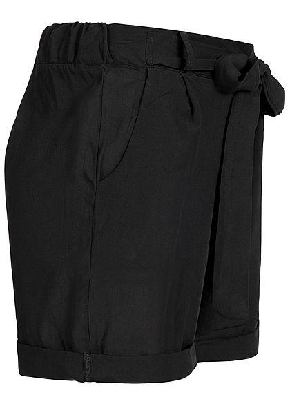 Styleboom Fashion Damen Viskose Paper-Bag Shorts 2 Taschen schwarz