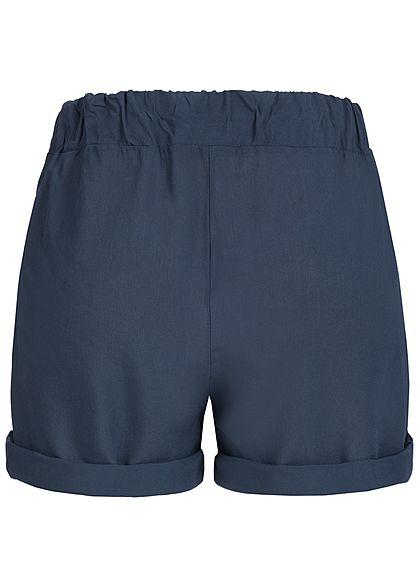 Styleboom Fashion Damen Viskose Paper-Bag Shorts 2 Taschen navy blau