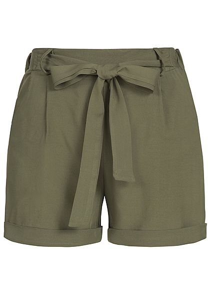 Styleboom Fashion Damen Viskose Paper-Bag Shorts 2 Taschen khaki