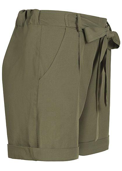 Styleboom Fashion Damen Viskose Paper-Bag Shorts 2 Taschen khaki
