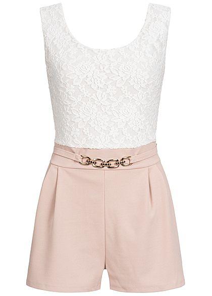cheap for discount c4548 fe0ef Styleboom Fashion Damen Kurz Jumpsuit Rückenausschnitt Spitze rosa weiss