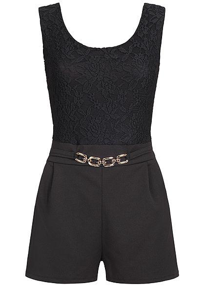 finest selection 4c521 26d6e Styleboom Fashion Damen Kurz Jumpsuit Rückenausschnitt Spitze schwarz