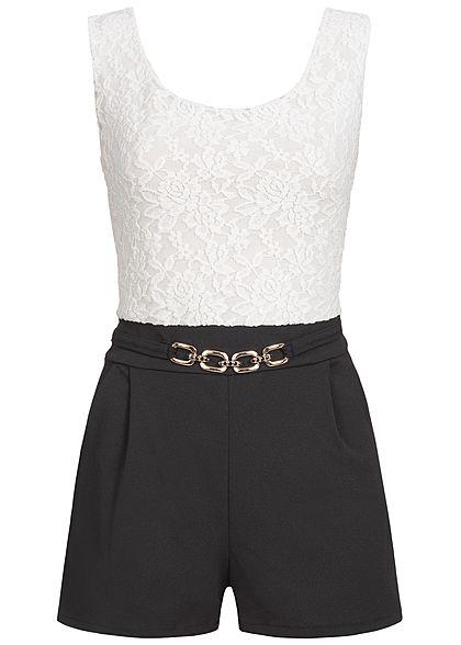 b4769ae11bd112 Styleboom Fashion Damen Kurz Jumpsuit Rückenausschnitt Spitze schwarz weiss  - 77onlineshop