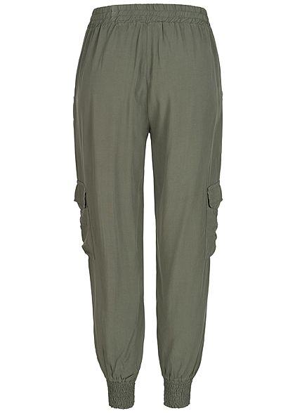 Styleboom Fashion Damen Sommer Cargo Hose 4-Pockets military grün