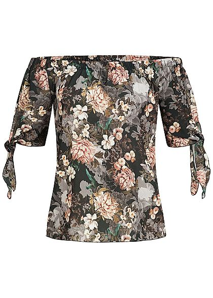 Styleboom Fashion Damen Off-Shoulder Top Blumen Print schwarz rosa beige