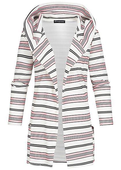 3217b505c1b6e1 Styleboom Fashion Damen 7/8Arm Cardigan Kapuze Streifen 2 Taschen weiss  schwarz rosa - 77onlineshop