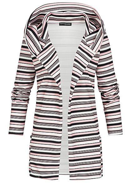 f1ddde636de40d Styleboom Fashion Damen 7/8Arm Cardigan Kapuze Streifen 2 Taschen schwarz  rosa weiss - 77onlineshop