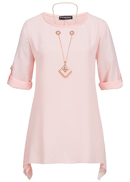 Styleboom Fashion Damen Turn-Up Bluse inkl. Kette rosa