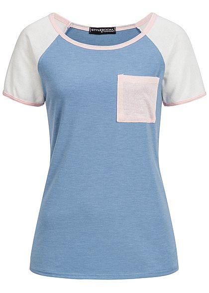 a6dbd6cf352cb9 Styleboom Fashion Damen T-Shirt Schnürausschnitt Streifen weiss ...