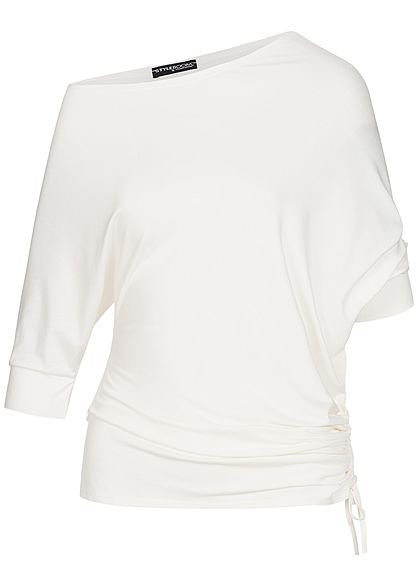 Styleboom Fashion Damen Carmen Fledermaus Shirt off weiss