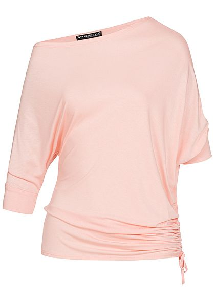 Styleboom Fashion Damen Carmen Fledermaus Shirt rosa