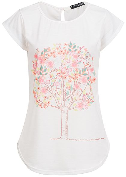 Styleboom Fashion Damen T-Shirt Baum Print weiss multicolor