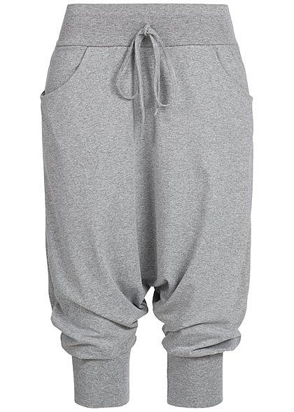 Vorschau von üppiges Design elegantes Aussehen Styleboom Fashion Damen Haremshose 2 Taschen breiter Bund dunkel grau