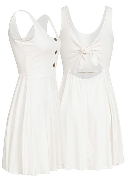 178eaf65f6a9e9 Styleboom Fashion Damen Mini Kleid Deko Knöpfe Schleife Rücken off weiss -  77onlineshop