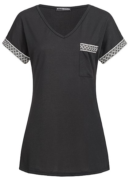 Styleboom Fashion Damen T-Shirt Brusttasche schwarz