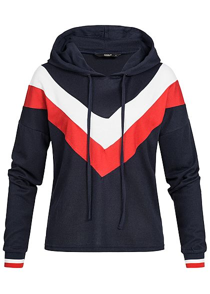 ONLY Damen Hoodie Colorblock Kapuze night sky blau weiss rot